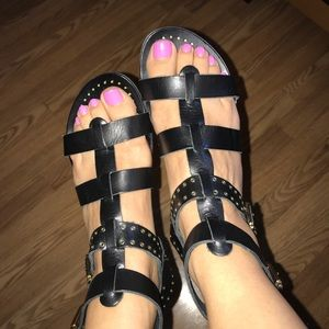 Black and gold stud leather gladiator sandals 7